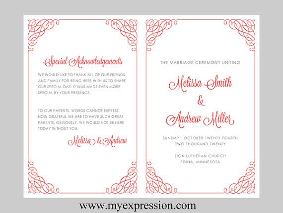 17 Best ideas about Wedding Program Templates – Wedding Templates for Word