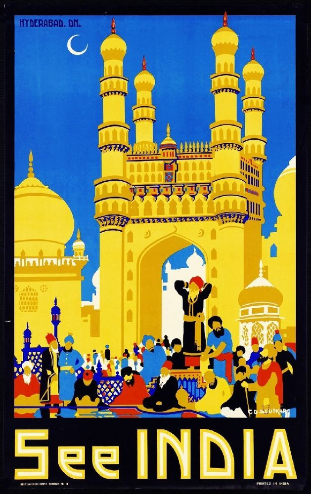 See India Hyderabad Vintage India Travel Advertisement Vintage Poster Print Art in 1920-29 | eBay