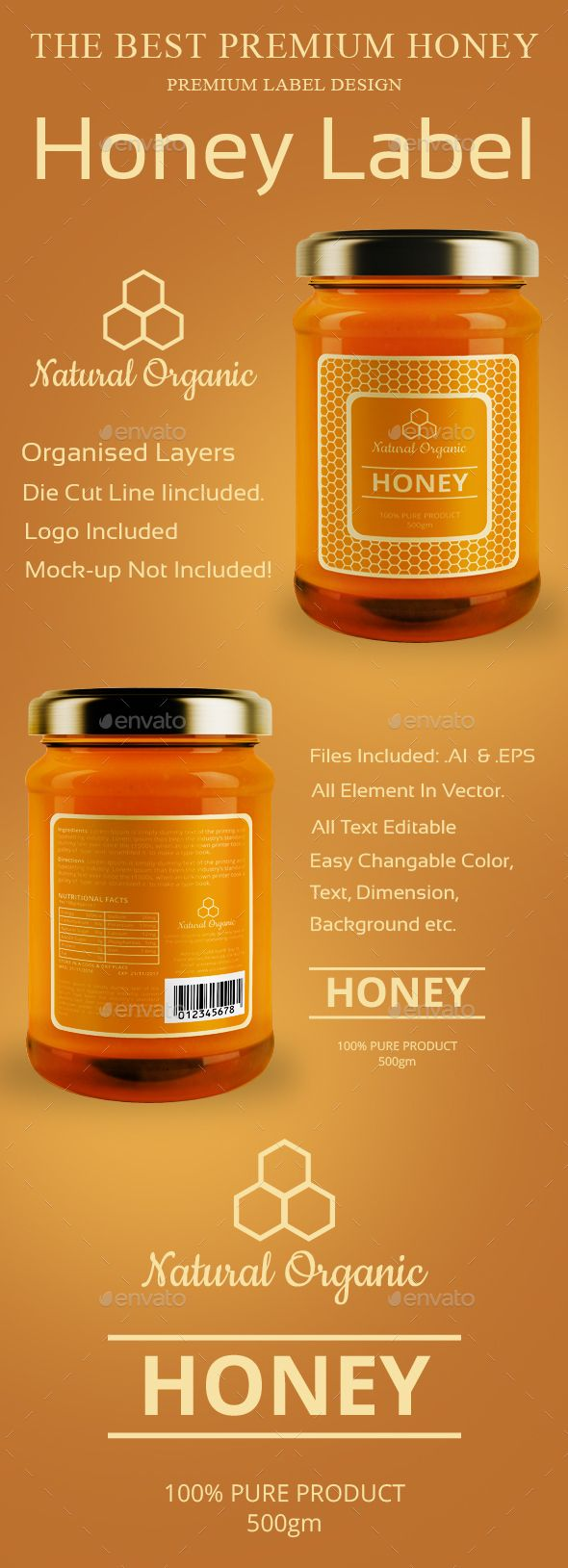 Honey Label Design Template Vector EPS, AI Illustrator