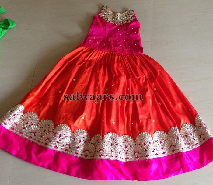 Orange Pink Simple Lehenga - Indian Dresses