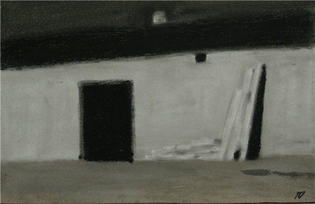 Архитектура. 1996. Наждачная бумага, пастель, уголь.ГОХМ «Либеров-центр» (Омск) У калитки. 1992. Наждачная бумага, пастель, уголь.Омский областной музей… Petr Gergardovich Dick