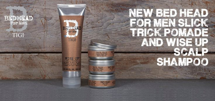 Tigi Bed Head For Men New Slick Trick Pomde & Wise Up Scalp Shampoo.