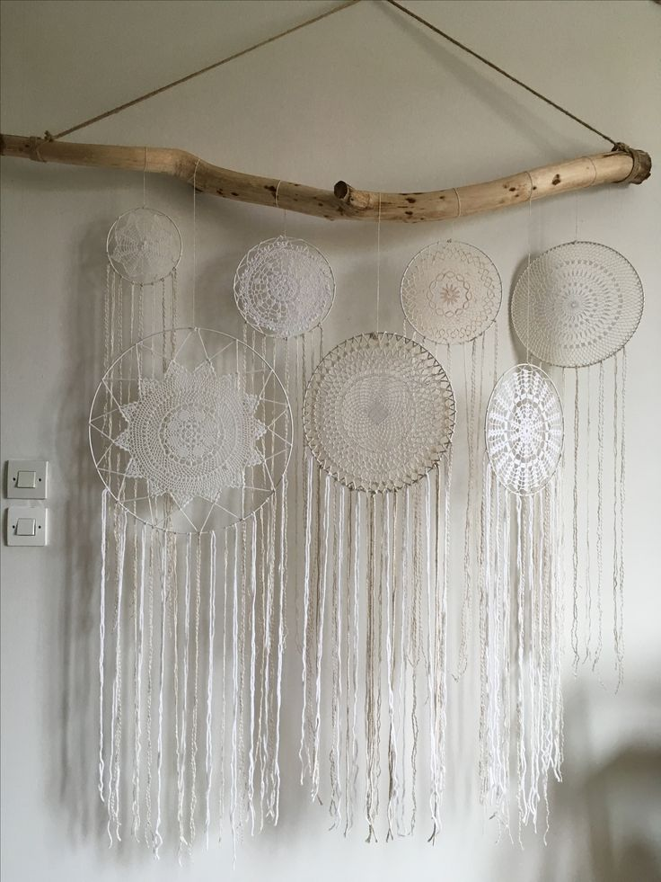 D coration boh me naturelle attrapes r ves dentelle crochet t te de lit dreamcatcher attrape - Attrape reve crochet ...