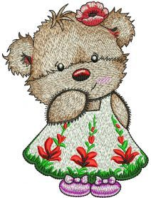 Cute Teddy girl embroidery design. Machine embroidery design. www.embroideres.com