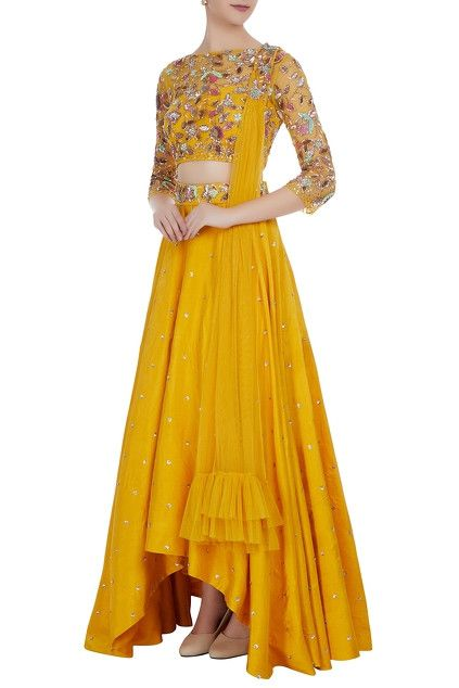 0107086dd3412a Raw silk sequin embroidered high-low lehenga set
