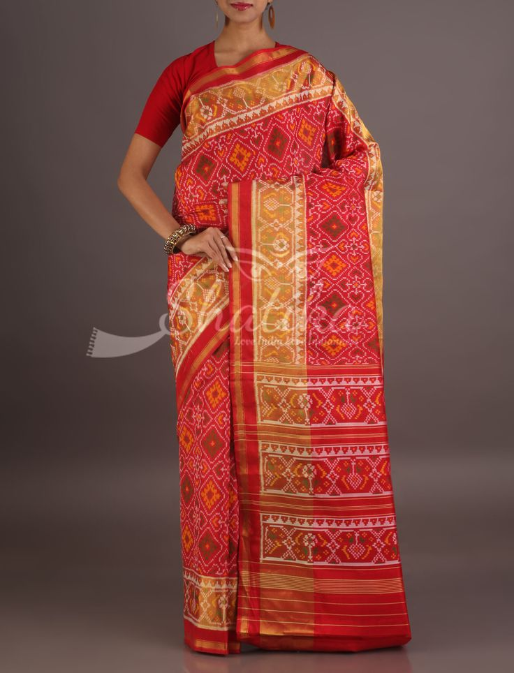 Kanchi Gold Spot Ornage Full Rangoli Designed Contrast Border Pure Patola Silk Saree
