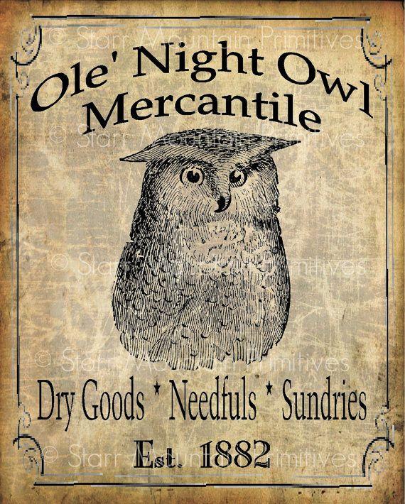 Primitive Owl Background | Primitive Ole Night Owl Mercantile Jpeg Digital Image Pantry Label ...