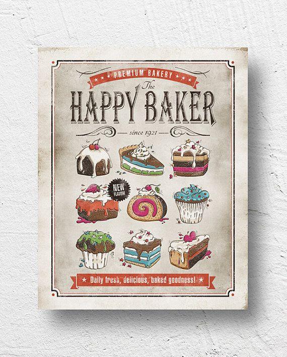 Retro Kitchen Art: Retro Kitchen Art / Bakery, Cake Print, Kitchen Poster