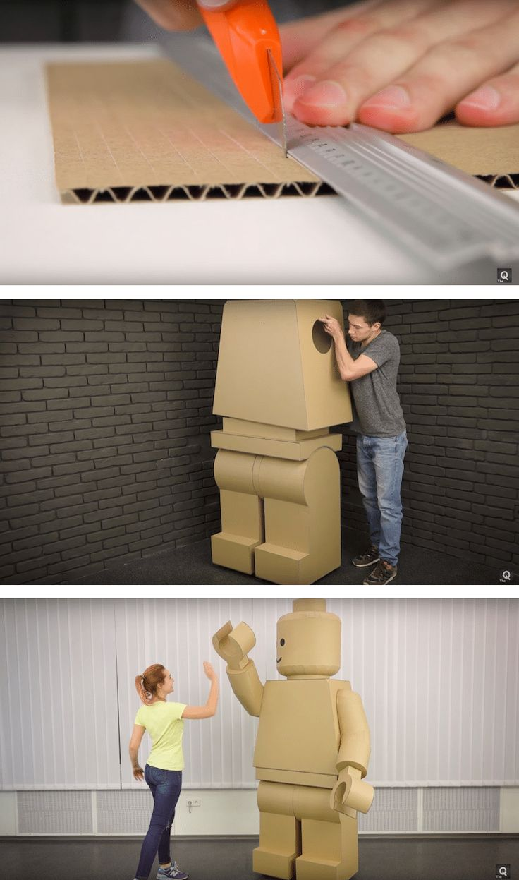 Become a giant LEGO minifig for Halloween by following these designers' DIY steps with cardboard.