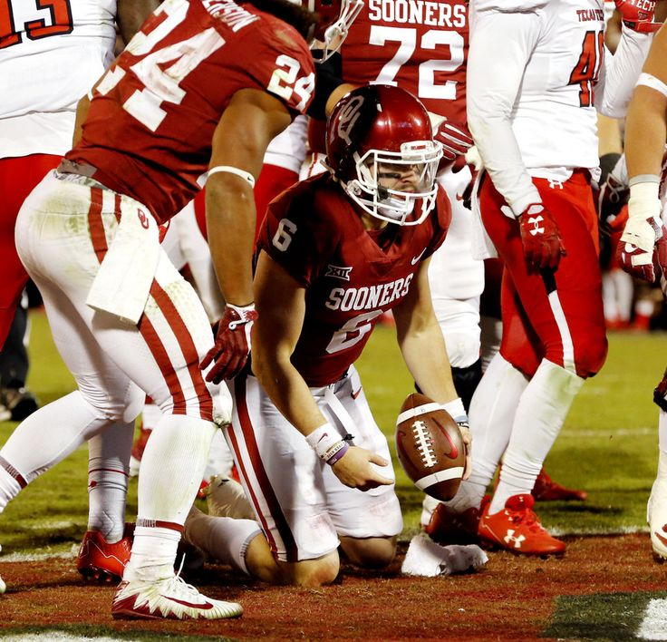 Baker Mayfield scores during the second half of a college football game in which the University of Oklahoma Sooners (OU) defeated the Texas Tech Red Raiders 49-27 at Gaylord Family-Oklahoma Memorial Stadium in Norman, Okla., on Saturday, Oct. 28, 2017. Photo by Steve Sisney, The Oklahoman