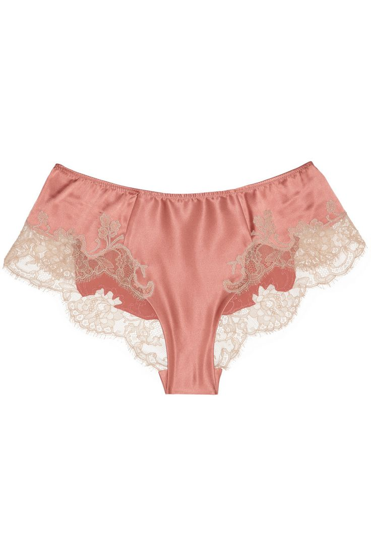 Carine Gilson/Sonia lace-appliquéd stretch-silk satin shorts