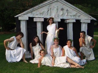 """Made this for my youngest Greek play..used it again for a party for my oldest..end of the school year """"We are Seniors now, let's Toga!"""""""