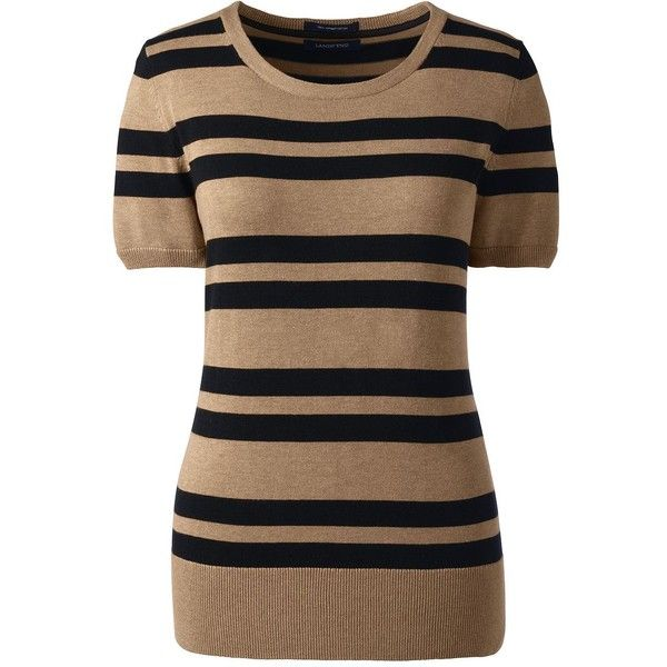 Lands' End Women's Petite Short Sleeve Supima Stripe Sweater found on Polyvore featuring tops, sweaters, brown, striped sweaters, short sleeve sweater, round top, petite sweaters and cropped sweater