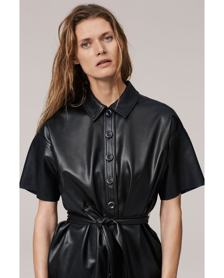 Image 2 of FAUX LEATHER SHIRT DRESS from Zara