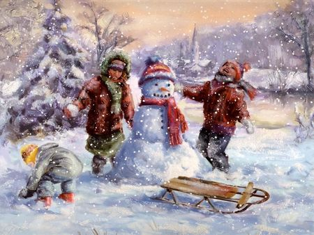 old fashioned christmas pictures free | Christmas Never Grows Old - snowman, snow, children, christmas