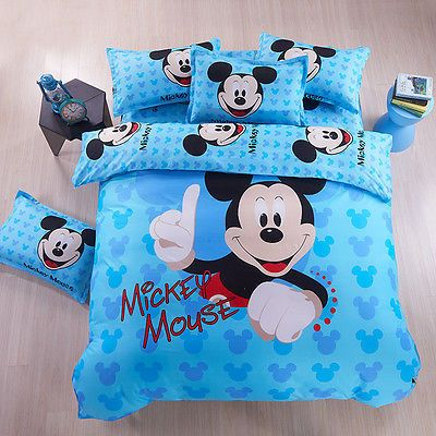Mickey Mouse Theme Duvet Cover Queen Size Bedding Set