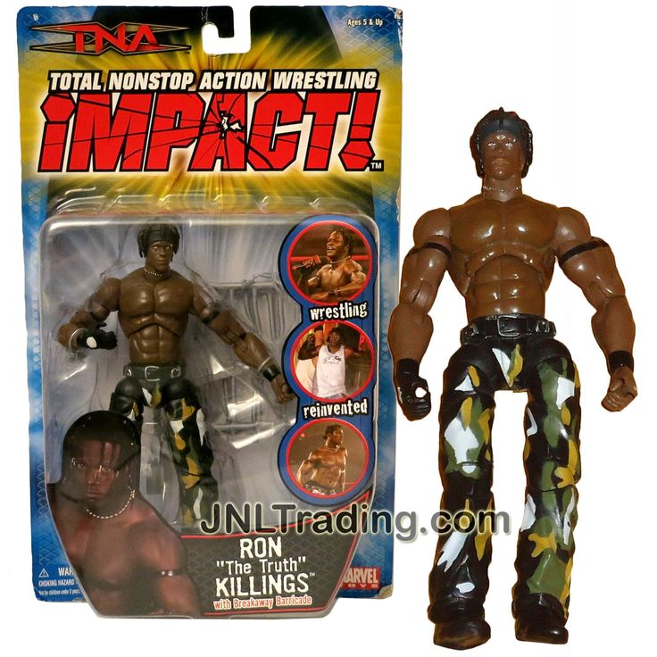 """Marvel Toys Year 2006 Total Nonstop Action Wrestling TNA Impact! 7 Inch Tall Figure - RON """"The Truth"""" KILLINGS in Camo Pants with Breakaway Barricade"""