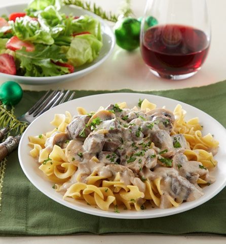 Beef stroganoff has long been a favorite entrée when the weather starts to turn chilly. This version takes things up a notch by adding ultra-rich cream and a garnish of fresh parsley. Cooking the beef and sauce in a slow cooker makes it ultra-easy to prepare. Pairs well with syrah and hefeweizen.