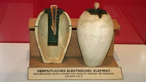 2.) Baghdad Battery: A few of these items have been found, also referred to as the Parthian Battery. These terra-cotta pots were created in Mesopotamia and seem to have copper and iron inside, creating a basic battery if there were electrolytes present.