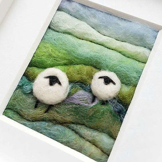Felted and embroidered sheep on a wet felted background https://www.etsy.com/uk/listing/528604889/sheep-and-heather-landscape-original