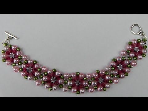How to make a beaded bracelet with pearls jewelry DIY (tutorial + free pattern) - YouTube