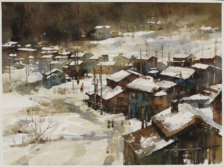 【日本高山雪景)】27*36CM,2012 Watercolour,ARCHES ............By Chien Chung Wei