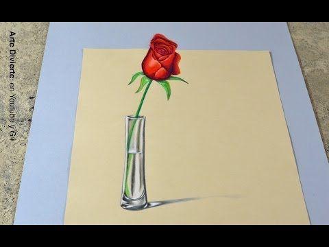 La técnica SECRETA para hacer un dibujo en 3D! - Cómo dibujar una rosa anamórfica - YouTube