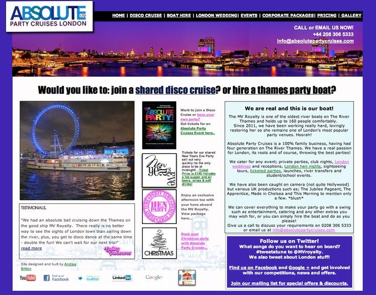 Website Design.   www.absolutepartycruises.com