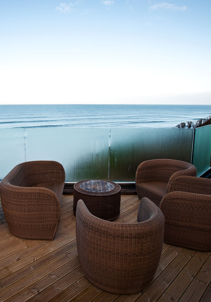 The terrace at Watergate Bay Hotel.