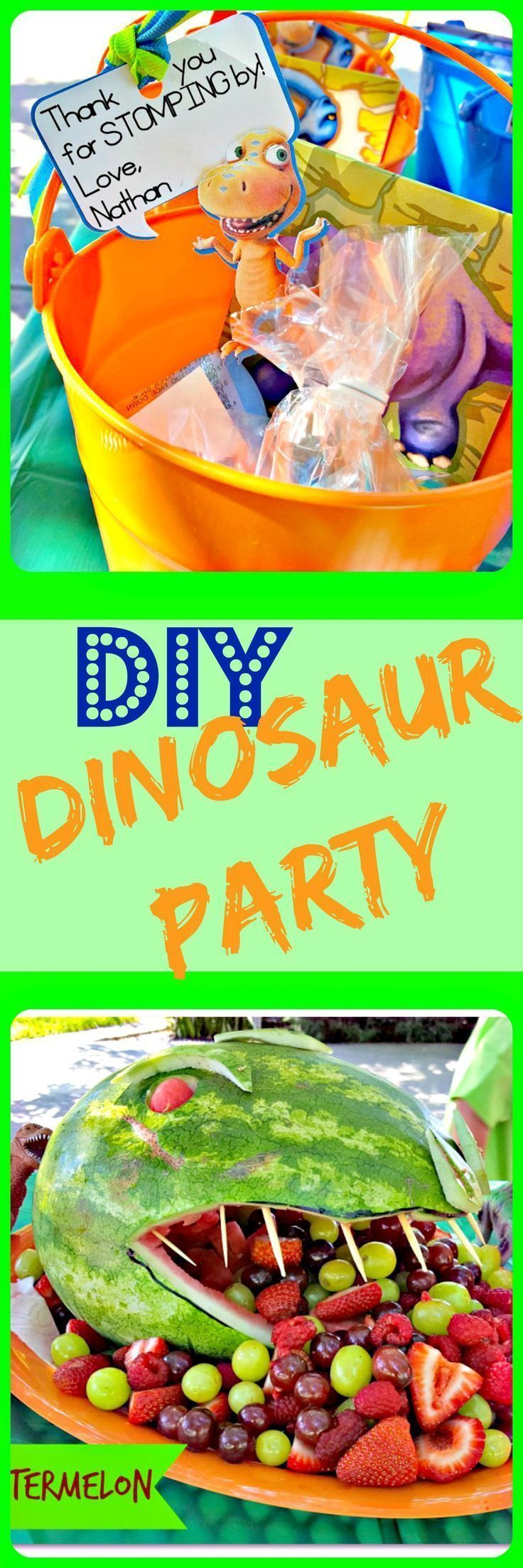 What great ideas for a dinosaur themed birthday party!! Activities, favors…