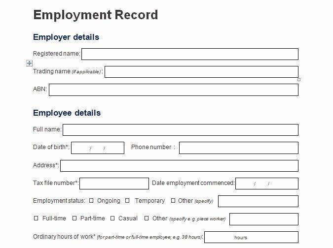 Employment Personal Information Forms Luxury Record Of Employee