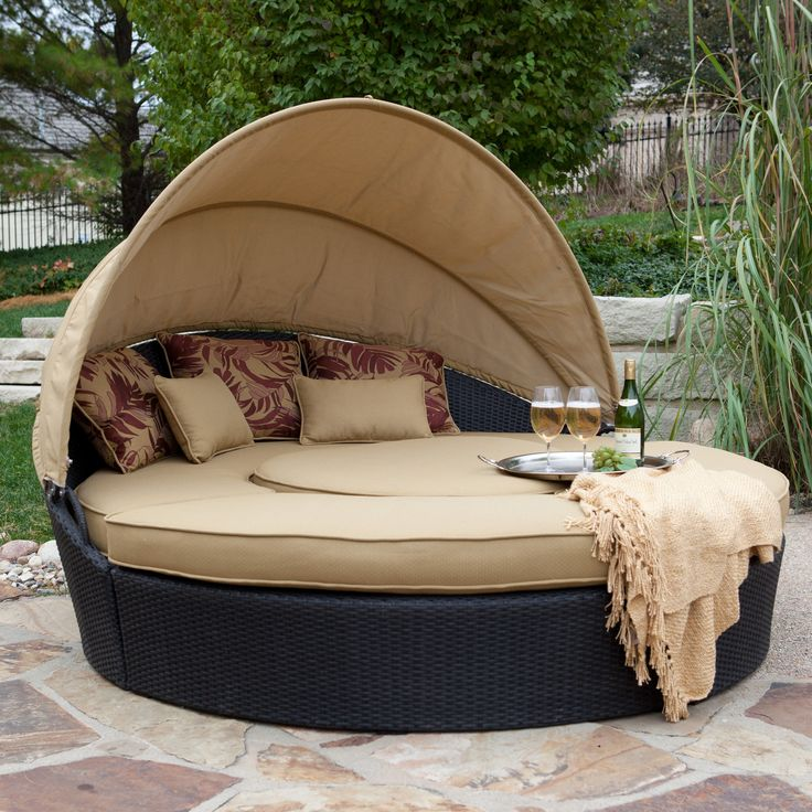 pool couch w/ awning