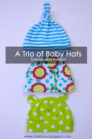 And now, he needs some hats.  Zaaberry: Baby Hats - TUTORIAL AND PATTERN