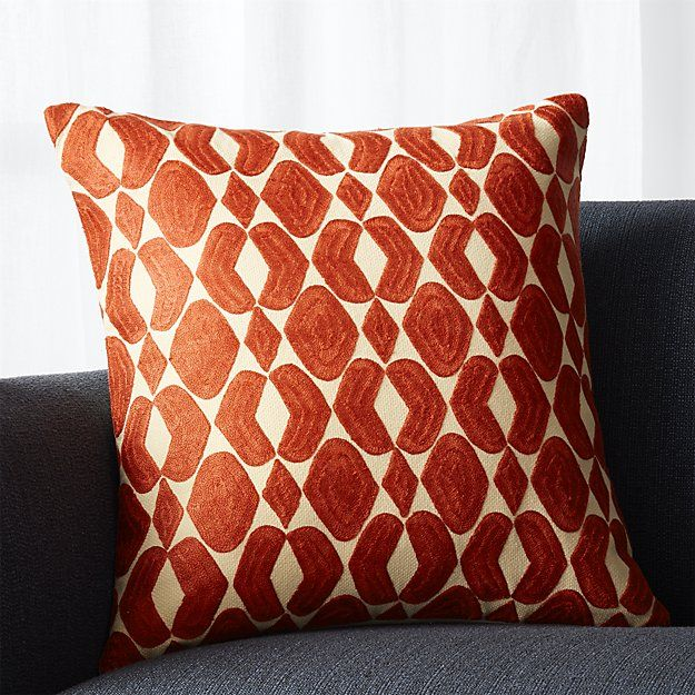 "Piet Orange 20"" Pillow with Down-Alternative Insert 