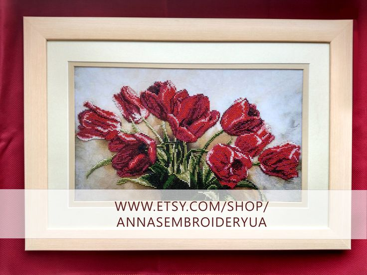 Tulips. Framed beaded embroidery (completed) made by hands. Wooden frames, anti glare glass.