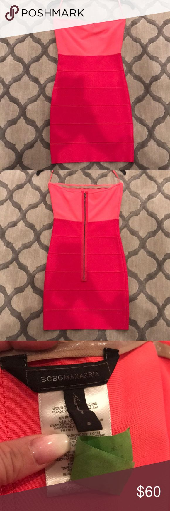 """BCBG Bandage Dress- pink strapless - size S BCBG Bandage Dress- pink strapless - size S. So hot for Valentines Day night out, when you just don't want to do """"red"""". Bandage material is high quality with a zipper in the back and eye hook at top. Only a small dark spot on front which my finger is pointing to. (See pics). Has been dry cleaned. BCBGMaxAzria Dresses Mini"""