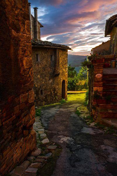 The Nighttime Streets Of Italy - Val d'Orcia Region, Tuscany, Italy