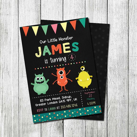 Monster Birthday Invitation Little Monster by TheCutePaperStudio