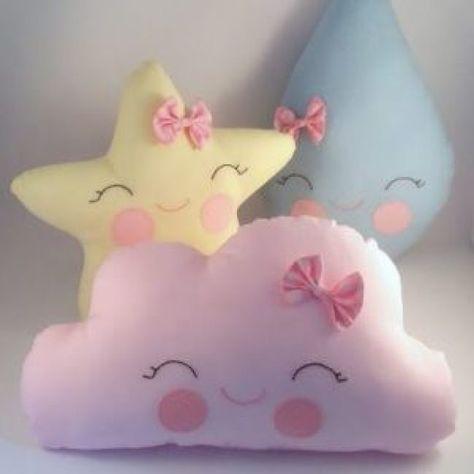 nube de gotas almohadilla estrellas