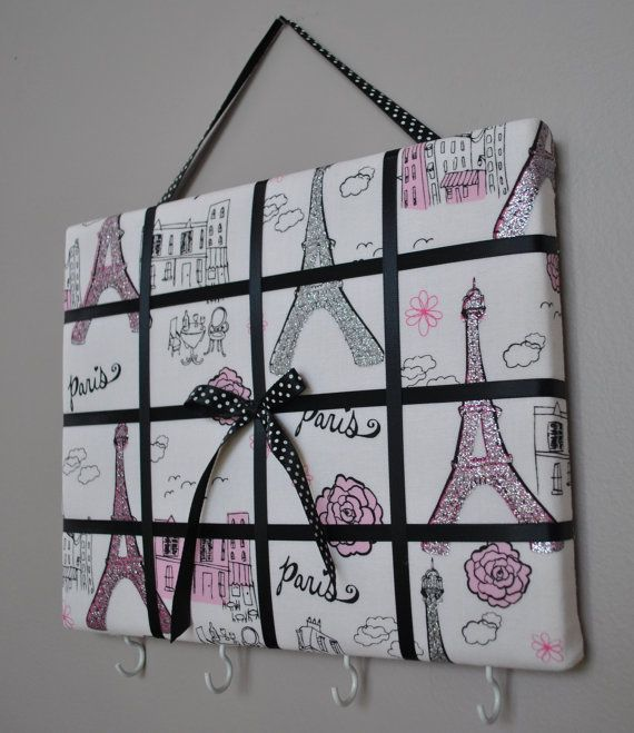 Paris themed French memo board / organizer / bow holder by MemoBoardsNMore