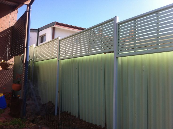 Colorbond Fence With Wood Privacy Screen Google Search Yard Vinyl Privacy Fence Backyard