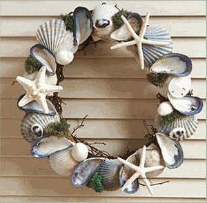 Blue  White Shell Wreath
