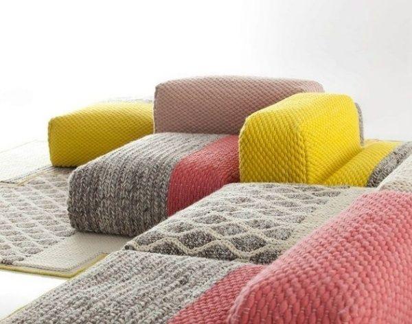 Wohnzimmer Garnitur Naturfaser Wolle Sitzsack Sitzkissen Design Bunt