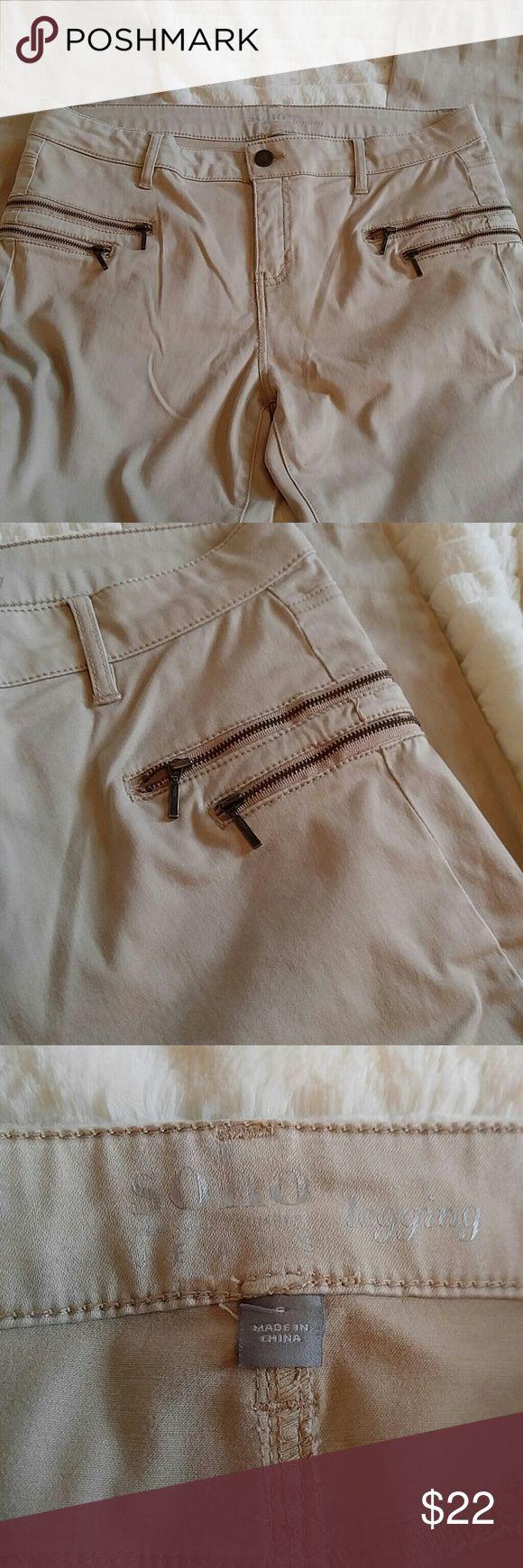 "Khaki leggings with awesome zipper accent Amazing leggings with button close and real pockets. 9"" rise.  30"" inseam    Why buy from me? 💋Most Items New with tags or worn once 💋Smoke free home  💋TOP 10% Seller  💋TOP RATED 💋 FAST SHIPPER   💋ACCEPT MOST OFFERS 💋BUNDLE DISCOUNT OF 20% 💋Allow EXCHANGES 💋Speedy response for questions  ❤Let me know how I can help & HAPPY POSHING!!! 💕💋 New York & Company Jeans Skinny"