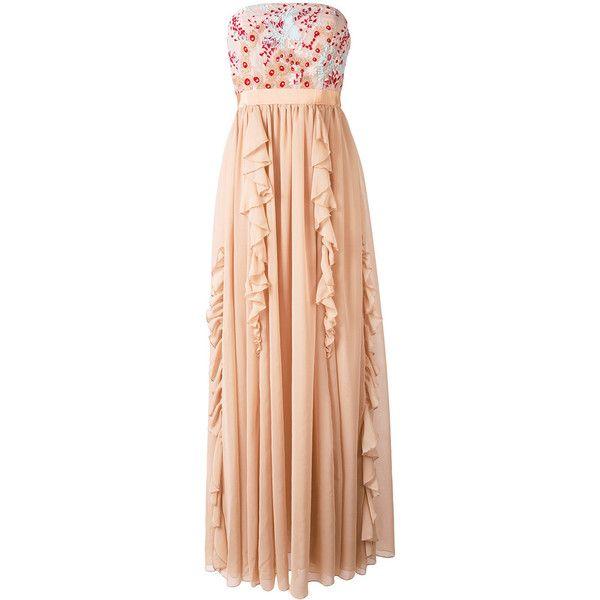 Si Jay flower organza long dress ($445) ❤ liked on Polyvore featuring dresses, nude, long dresses, organza dress, red dress, beige dress and beige long dress