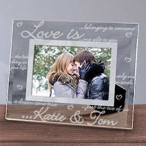 Engraved Love is Glass Picture Frame