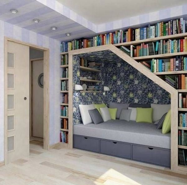 That's such a good idea!...maybe the bed goes under the stairs???