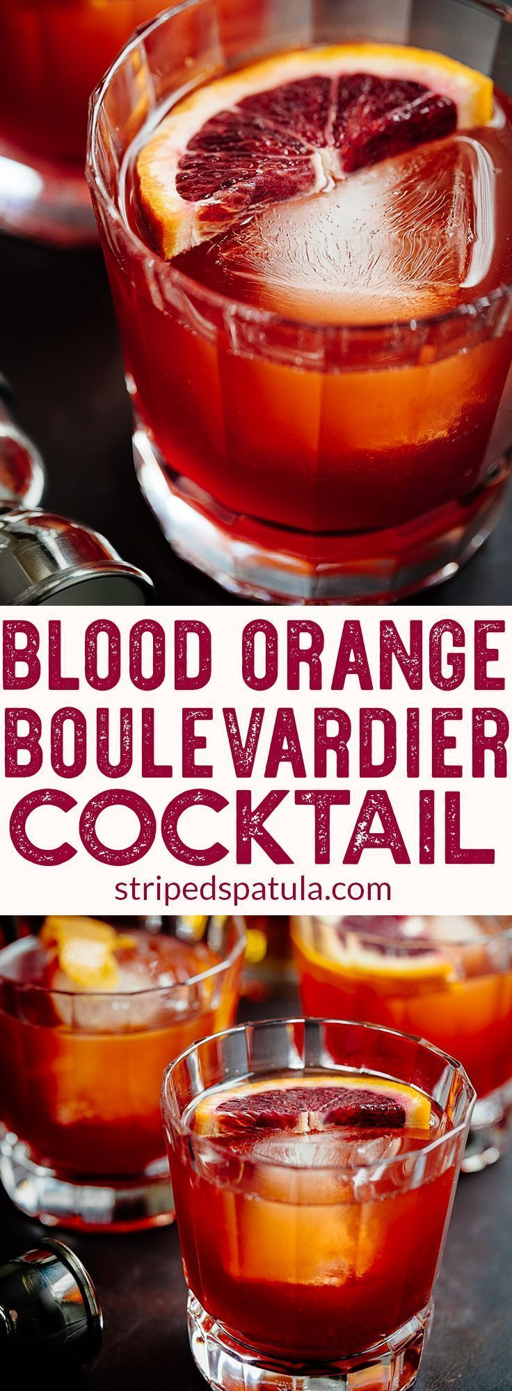 Blood Orange Boulevardier Cocktail | Campari Drinks | Campari Cocktail | Bourbon Cocktails | Bourbon Drinks | Whiskey Cocktails | Cocktail Recipes | Alcoholic Drinks | #drinkrecipes #alcohol #cocktails #cocktailrecipe #bourbon #stripedspatula #cocktailrecipes