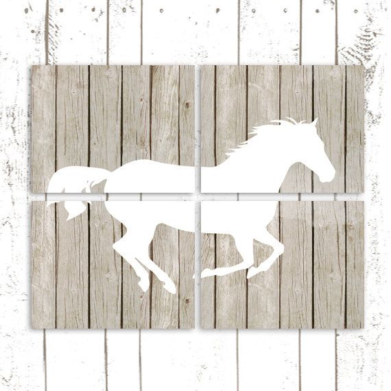Horse Art Prints, Pony Prints, Horse Bedroom Decor, Set of Four Nursery Prints on Rustic Wood Background