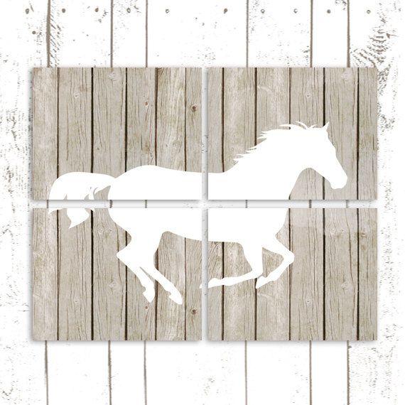 Horse Art Prints, Pony Prints, Horse Bedroom Decor, Set of Four Nursery Prints on Rustic Wood Background